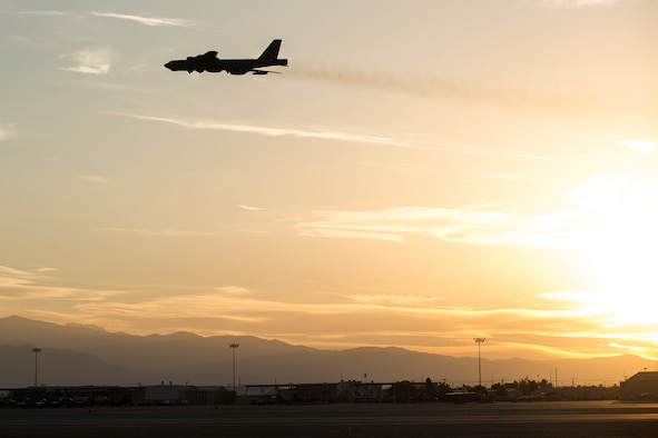 An Air Force Reserve Command B-52H Stratofortress takes on for an evening mission on June 8, 2016, Nellis Air Force Base, Nev. The aircraft is assigned to the 307th Bomb Wing at Barksdale Air Force Base, La., and is at Nellis in support of the 340th Weapons Squadron. (U.S. Air Force photo by Master Sgt. Greg Steele/Released)