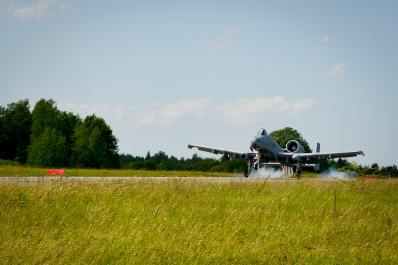 An A-10C Thunderbolt II from the 107th Fighter Squadron, takes off from a highway June 21, 2016, in Tallinn, Estonia. U.S. forces are in Europe participating in Saber Strike 16; a long-standing, U.S. Joint Chiefs of Staff-directed, U.S. Army Europe-led cooperative-training exercise, which has been conducted annually since 2010. This year's exercise will focus on promoting interoperability with allies and regional partners. The United States has enduring interests in supporting peace and prosperity in Europe and bolstering the strength and vitality of NATO, which is critical to global security. (U.S. Air Force photo/Senior Airman Nicole Keim)