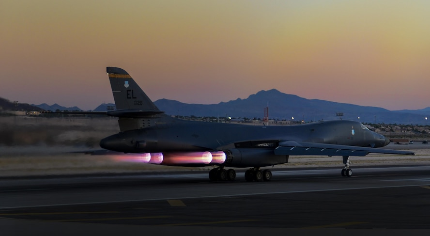 A B-1 Lancer, assigned to the 34th Bomb Squadron, Ellsworth Air Force Base, South Dakota, takes off during Deliberate Strike Night at Nellis Air Force Base, Nevada, June 16, 2016. Composed of six different missions, Advanced Integration contains one of the most dynamic pertaining to fourth and fifth Generation airframes, a night exercise known as Deliberate Strike Night. (U.S. Air Force photo by Airman 1st Class Kevin Tanenbaum)