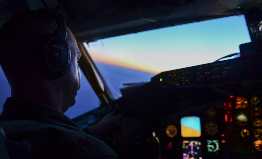 Maj. Charles Schellbach, 509th Weapons Squadron KC-135 pilot, Fairchild Air Force Base, Wash., flies during Deliberate Strike Night over the Nevada Test and Training Range, June 16, 2016. With the purpose of DSN being to show the full-spectrum capabilities of the approximately 60 Air Force and U.S. Navy assets that are participating, planning such a complex exercise is no simple task. (U.S. Air Force photo by Airman 1st Class Kevin Tanenbaum)