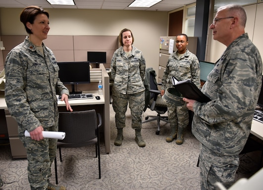 Force Support Squadron members meet the new 932nd Airlift Wing commander, Col. Jonathan Philebaum at Scott Air Force Base, Illinois. Philebaum met with several Airmen, like these during his immersion tour over a unit training assembly. Philebaum visited the various sections within the 932nd Maintenance Group, Operations Group, Medical Group and Mission Support Group and learned more about each individual and their jobs within the 932nd AW. (U.S. Air Force photo by Tech. Sgt. Christopher Parr)