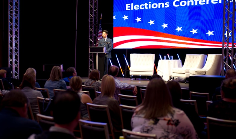 Airman Min Park, 92nd Comptroller Squadron financial services technician, speaks at the 2016 Washington State Elections Conference during its 'Faces of Voters' event section in downtown Spokane, Washington, June 17, 2016. The conference covered numerous voting topics, such as voting polls, voting rights, voter booth accessibility and the faces of voters. (U.S. Air Force photo/Airman 1st Class Nick J. Daniello)