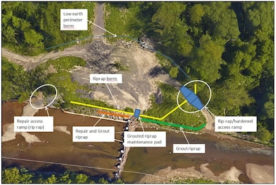 Cazenovia Creek Ice Control Structure: aerial photograph highlighting what work will be accomplished.