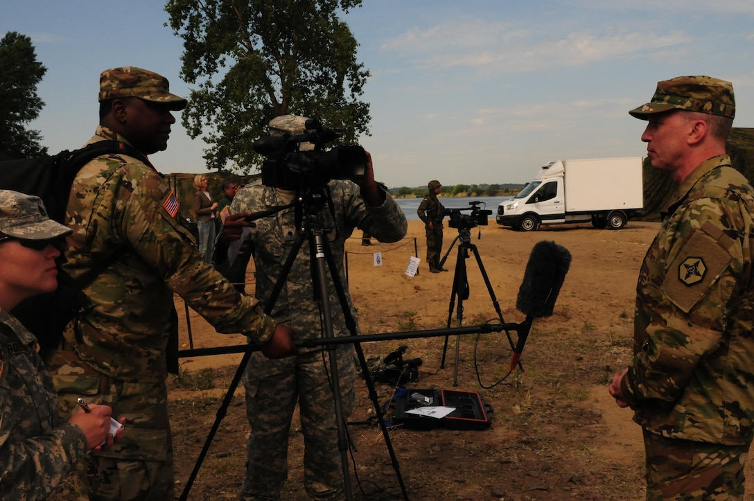 The 364th ESC Commanding General, Brig. Gen. Gregory Mosser, conducts an interview with Armed Forces Network and other media outlets to discuss the critical sustainment role the ESC plays during Anakonda 16 June 8.
