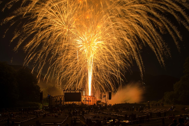 Fireworks light the sky above Trophy Point overlooking the Hudson River during the closing ceremony for the 2016 Department of Defense Warrior Games at the U.S. Military Academy in West Point, N.Y. June 21, 2016. DoD photo by EJ Hersom
