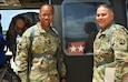 Maj. Gen. A.C. Roper, commander 80th Training Command, and the senior noncommissioned officer of 5th Brigade 94th Training Division, Command Sgt. Maj. Javier FigueroaNunez, prepare to board a UH-60 Black Hawk helicopter from St. Croix U.S. Virgin Islands to Puerto Rico March 10, 2016. During his visit to St. Croix, Roper met with Maj. Gen. Deborah Y. Howell, the adjutant general of the Virgin Islands National Guard. The two general officers discussed the relationship between 5th Brigade and the National Guard in the Virgin Islands.
