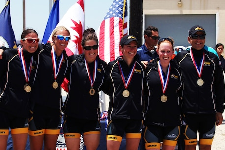 Army Women capture the 2016 Armed Forces Triathlon women's title.  From left to right:  Capt. Samone Franzese (Fort Bragg, N.C.), Capt Alexis Ressler (Burlington, Vt.), 1st Lt. Justine Emge (Columbia, Mo.), Capt Christine Krueger (Fort Jackson, S.C.) and Capt Kathryn Smith (Bethesda, Md.). The 2016 Armed Forces Triathlon Championship was held at Naval Base Ventura County, Calif. on 18 June.