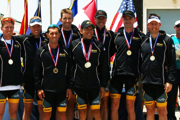 Army captures Armed Forces Triathlon team gold.  From left to right:  Sgt. 1st Class Nathan Dressel (Camp Williams, Utah), Capt Gene Lehardy (Fort Leonard Wood, Mo), Capt Nicholas Sterghos (Yonsan, South Korea), Capt Marcus Farris (Fort Wainwright, Alaska), Lt. Col. Hector Tovar (Kirtland AFB, N.M.), Capt Matthew Schiller (Fort Jackson, S.C.), 1st Lt. Ben Martinelli (Schofield Barracks, Hawaii), and Capt Matthew Holmes (Schofield Barracks, Hawaii). The 2016 Armed Forces Triathlon Championship was held at Naval Base Ventura County, Calif. on 18 June.