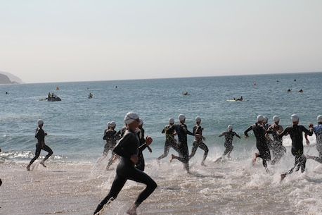 Racers charge into the Pacific Ocean to kick off the 2016 Armed Forces Triathlon Championship was held at Naval Base Ventura County, Calif. on 18 June.  Army swept the men and women team titles.
