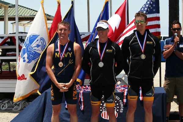 Your 2016 Armed Forces Triathlon Championship Men Medalists from left to right:  Gold medalist Navy Lt. Kyle Hooker; Silver medalist Army Capt. Gene Lehardy of Fort Leonard Wood, Mo; and Bronze medalists Army Capt. Marcus Farris of Fort Wainwright, Alaska. The 2016 Armed Forces Triathlon Championship was held at Naval Base Ventura County, Calif. on 18 June.