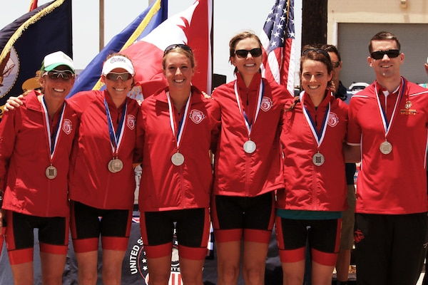 Marine Corps women win the Armed Forces Triathlon team silver.  From left to right:  Capt. Christine Taranto (MCB Quantico), 1st Lt. Mollie Hebda (Camp Pendleton), 1st Lt. Colleen Randolph (Camp Pendleton), 1st Lt. Kellie Darmody (Camp Butler), and 1st Lt. Catherine Nuar (Camp Butler). The 2016 Armed Forces Triathlon Championship was held at Naval Base Ventura County, Calif. on 18 June.