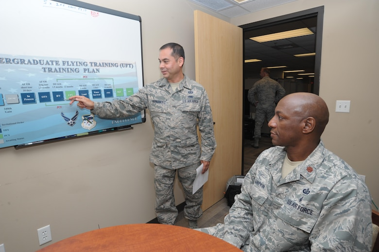 Technical Sergeant Gilberto Hernandez, (right) 340th Flying Training Group, non-commissioned officer of the year, briefs Major Thallas Lumpkin, June 15, at Joint Base San Antonio-Randolph. Hernandez was announced as the Air Force Reserve Command's Outstanding NCO of the Year for 2015 at a banquet April 16 in Jacksonville, Fla., and he advances to represent the command in the competition for Air Force Outstanding Airman of the Year honors.
