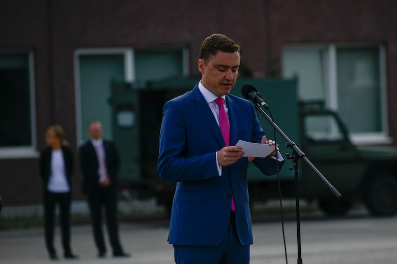 Taavi Roivas, Estonian prime minister, thanks NATO allies for their hard work during  Saber Strike 16 at a closing ceremony at Tapa Training Base, Estonia, June 21, 2016. U.S. forces in Europe participated in Saber Strike 16; a long-standing, U.S. Joint Chiefs of Staff-directed, U.S. Army Europe-led cooperative-training exercise, which has been conducted annually since 2010.  This year's exercise focused on promoting interoperability with allies and regional partners. The United States has enduring interests in supporting peace and prosperity in Europe and bolstering the strength and vitality of NATO, which is critical to global security. (U.S. Air Force photo/Senior Airman Nicole Keim)