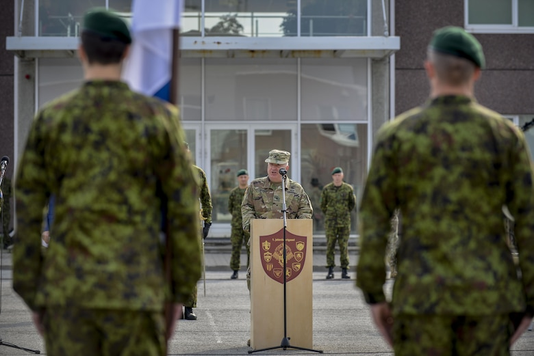 U.S. Army Brig. Gen. Blake Ortner, 29th Infantry Division commander,   speaks during the closing ceremony for Saber Strike 16 at Tapa Training Base, Estonia, June 21, 2016. U.S. forces in Europe participated in Saber Strike 16; a long-standing, U.S. Joint Chiefs of Staff-directed, U.S. Army Europe-led cooperative-training exercise, which has been conducted annually since 2010.  This year's exercise focused on promoting interoperability with allies and regional partners. The United States has enduring interests in supporting peace and prosperity in Europe and bolstering the strength and vitality of NATO, which is critical to global security. (U.S. Air Force photo/Senior Airman Nicole Keim)