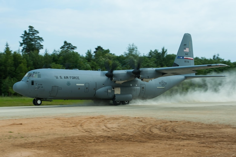 A U.S. Air Force C-130J Super Hercules Aircraft from Dyess Air Force Base, Texas, takes off during Exercise Swift Response 16 at Hohenfels Training Area, Germany, June 17, 2016. Exercise SR16 is one of the premier military crisis response training events for multinational airborne forces in the world, the exercise has more than 5,000 participants from 10 NATO nations. (U.S. Air Force photo by Master Sgt. Joseph Swafford/Released)
