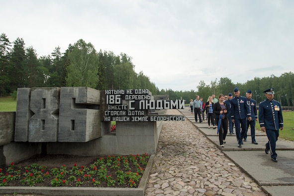 Members of the U.S. Air Forces in Europe Band receive a tour of the Khatyn Memorial in Belarus, June 20, 2016. The USAFE band is in Belarus to perform and commemorate the alliance that ended the greatest conflict of the 20th Century. (U.S. Air Force photo/Technical Sgt. Paul Villanueva II)