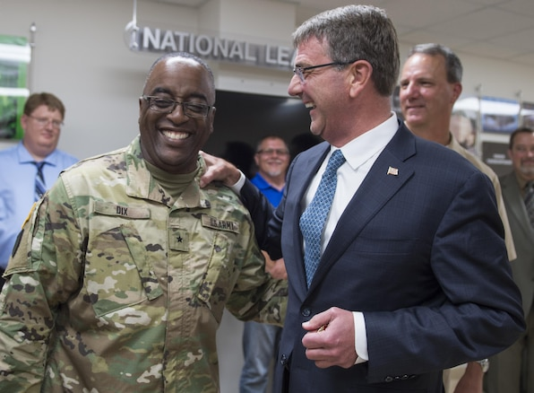 Defense Secretary Ash Carter shares a light moment as he visits the Naval Surface Warfare Command in Crane, Ind., June 22, 2016. DoD photo by Air Force Staff Sgt. Brigitte N. Brantley