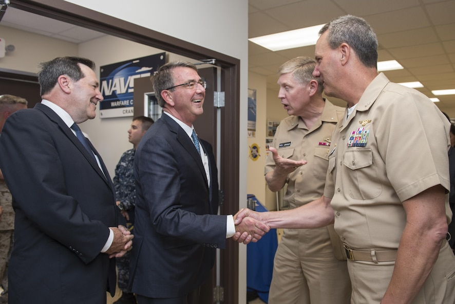 Defense Secretary Ash Carter visits the Naval Surface Warfare Command in Crane, Ind.