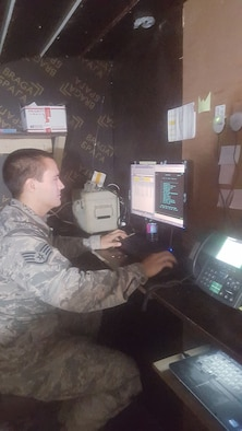 Staff Sgt. Dale Ransom performs tasks as a deployed cashier at an undisclosed location on June 22, 2016. Ransom, who is assigned to the 914th Airlift Wing in Niagara Falls, NY is responsible for many finance duties to include: cashiering, voucher preparing and entitlement processing. (Courtesy Photo)
