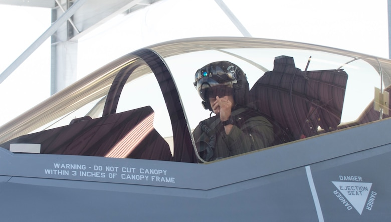 Lt. Col. Chris Pitts, 419th Operations Group Detachment 1 commander, prepares for takeoff at Mountain Home Air Force Base, Idaho, June 8, 2016. Seven F-35A Lightning IIs from Hill AFB deployed here June 3-17 to test if the F-35 was ready to operate in a deployed location. (U.S. Air Force photo by Senior Airman Malissa Lott/RELEASED)