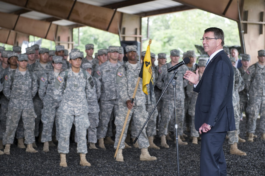 Defense Secretary Ash Carter addresses Army ROTC cadets attending training at Fort Knox, Ky.