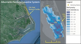 The estuarine shoreline on Currituck Sound is home to five monitoring platforms installed by ERDC-CHL.