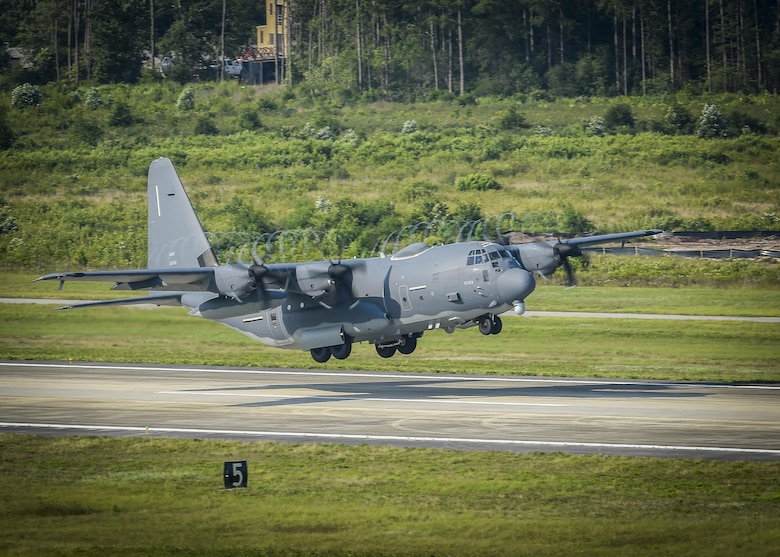 An AC-130J Ghostrider gunship performs a routine training mission at Hurlburt Field, Fla., June 17, 2016. The AC-130J is the fourth generation gunship replacing the aging fleet of AC-130U Spooky and AC-130W Stinger II gunships. (U.S. Air Force photo by Airman 1st Class Joseph Pick)