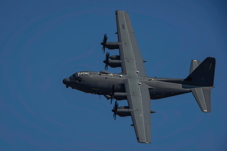 An AC-130J Ghostrider gunship performs a routine training mission at Hurlburt Field, Fla., June 17, 2016. The AC-130J is the fourth generation gunship replacing the aging fleet of AC-130U Spooky and AC-130W Stinger II gunships. (U.S. Air Force photo by Staff Sgt. Christopher Callaway)