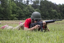 Jerrid Oates practices engaging the enemy during the patrolling portion of the 2016 Key Leaders and Educators Workshop aboard Marine Corps Base Quantico, Va., June 23. The week-long workshop creates a mutually beneficial relationship between educators and the Marine Corps where key leaders and educators can share knowledge about the Corps with America's leaders of tomorrow. Oates is the male baseball team's head coach for Metropolitan State University, Denver, Colorado.