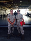 """Sgt. Shaun Kellam and Cpl. Daniel """"D.J."""" Deleon, pose for a photo after Deleon's promotion to corporal in August 2014. Kellam and Deleon have been best friends since they were teenagers. (Courtesy photo/Released)"""