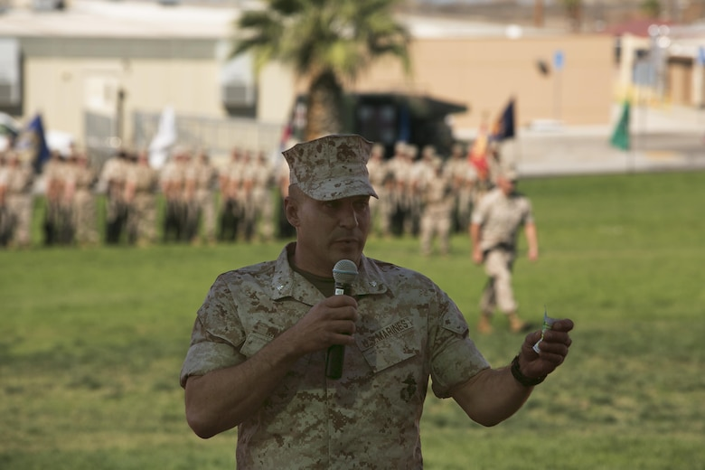 Lt. Col. Steven Murphy, outgoing commanding officer, addresses the audience during the Marine Wing Support Squadron 374 change of command at Lance Cpl. Torrey L. Gray Field, June 17, 2016. (Official Marine Corps photo by Cpl. Thomas Mudd/Released)