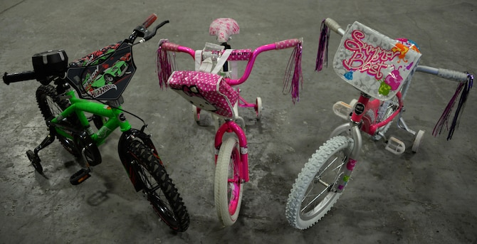 Children's bikes are displayed inside the Travis Bike Barn at Travis Air Force Base, Calif., June 20, 2016. The bike is one of more than 40 available for Travis Airmen, civilian employees and their families. (U.S. Air Force photo by Tech. Sgt. James Hodgman/Released)