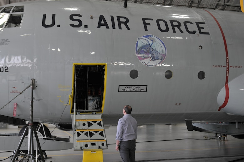 Gabe Camarillo, Assistant Secretary of the Air Force for Manpower and Reserve Affairs, gets an up-close look of a 109th Airlift Wing LC-130 Skibird during a tour of Stratton Air National Guard Base, New York, on June 22, 2016. (U.S. Air National Guard photo by Staff Sgt. Benjamin German/Released)