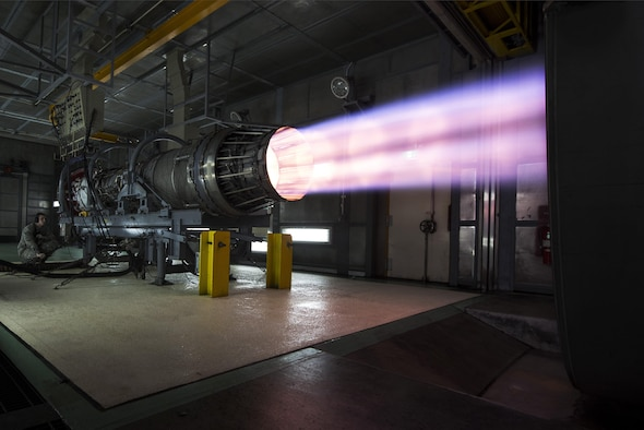 Members of the 18th Component Maintenance Squadron engine test facility, run an F-15 Eagle engine at full afterburner while checking for leaks and any other issues January 5, 2016, at Kadena Air Base, Japan. The facility is one of a kind facility built in the 90's and was paid for by the Government of Japan in an effort to reduce noise pollution in the local community while maintaining the critical role being able to test and have F-15 engines ready at a moment's notice. (U.S. Air Force photo by Senior Airman Omari Bernard)