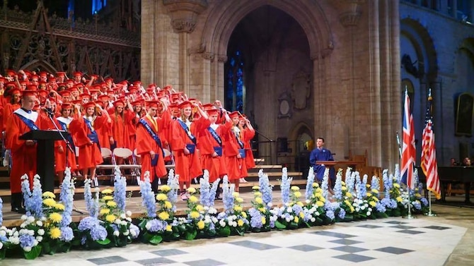 Lakenheath High School students attend their senior graduation at Ely Cathedral at Ely, England, June 10, 2016. Graduating students approached their final days at LHS with much anticipation and excitement for the future. (Courtesy photo)