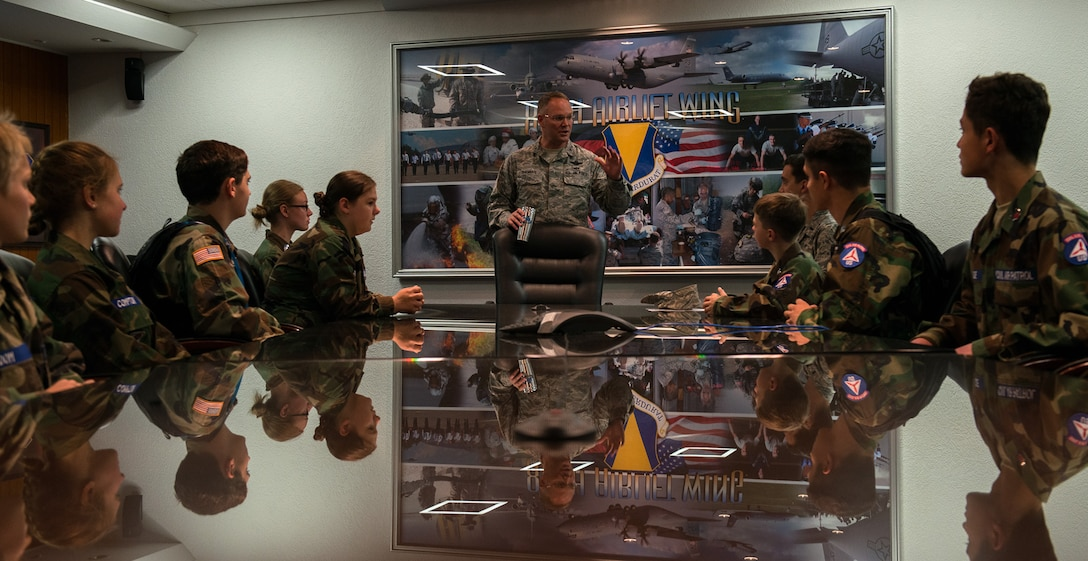 Brig. Gen. Jon T. Thomas, 86th Airlift Wing commander, speaks to cadets from the Civil Air Patrol June 20, 2016, at Ramstein Air Base, Germany. The cadets toured Ramstein from June 18 to 24, and visited squadrons associated with all three wings on base to get a glimpse of what life is like as an Airman. (U.S. Air Force photo/Airman 1st Class Tryphena Mayhugh)