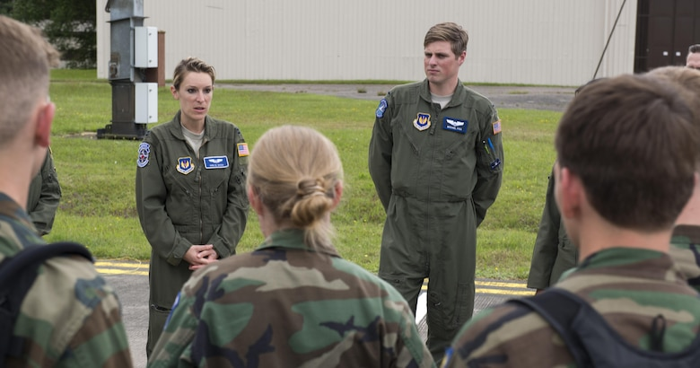 Capt. Erin Wood, 86th Aeromedical Evacuation Squadron flight nurse, speaks to cadets from the Civil Air Patrol during a tour June 22, 2016, at Ramstein Air Base, Germany. CAP included cadets from Ramstein, Spangdalem Air Base, Germany and Mildenhall Air Base, England. They toured Ramstein from June 18 to 24, and visited squadrons associated with all three wings on base to get a glimpse of what life is like as an Airman. (U.S. Air Force photo/Airman 1st Class Tryphena Mayhugh)