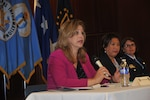 Amanda Simpson, deputy assistant secretary of defense for operational energy; Sharon Wong, acting director of the Office of Diversity and Inclusion for the Office of Personnel Management; and Air Force Col. Elizabeth Arledge, chief of acquisition, requirements and programming for the Nuclear Weapons, Missiles and Munition Division at Air Force Headquarters share their personal stories during an LGBT Pride Month event June 22 at the McNamara Headquarters Complex.