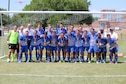 Members of the Air Force men's soccer team pose with their gold medals after winning the 2016 Armed Forces Men's Soccer Championship at Fort Benning, Georgia., May 13, 2016. During the championship match, the Air Force beat the U.S. Navy Men's team 3-2, after competing in the week-long tournament. (Courtesy photo)