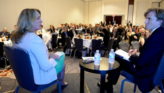 Air Force Secretary Deborah Lee James participates in a discussion, moderated by Eldridge Colby, about the space enterprise at the Center for a New American Security's annual conference in Washington, D.C., on June 20, 2016. (U.S. Air Force photo/Scott M. Ash)