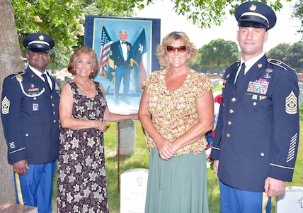 Mrs. Rita Van Autreve (second from left), widow of former Sgt. Maj. of the Army Leon L. Van Autreve, poses June 14 with Command Sgt. Maj. Alexis A. King (left), commandant of the Non Commissioned Officers Academy, U.S. Army Medical Department Center and School, her daughter Jodi Bearden, and Command Sgt. Maj. Andrew J. Rhoades, AMEDDC&S command sergeant major.