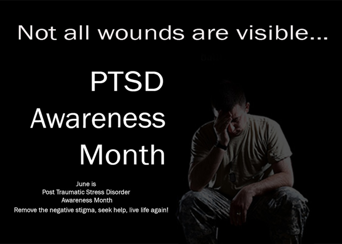 One in three service members are being diagnosed with serious Post Traumatic Stress Disorder or related symptoms. Less than 40 percent will seek help. June is National PTSD awareness month and June 27, 2016 is National PTSD Awareness Day. Break the negative stigma. (U.S. Air Force graphic by Senior Master Sgt. Brian M. Boisvert/Released)