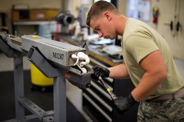 U.S. Air Force Senior Airman Shelby Demorest, 23d Equipment Maintenance Squadron armament technician, checks the torque on a launcher umbilical, June 22, 2016, at Moody Air Force Base, Ga. The Lakeland, Fla., native joined the Marines in 2010 with a job in aviation armament. After his four year contract was up, Demorest went into the Marine Reserves for one year and pursued his new goal of going active duty Air Force. (U.S. Air Force photo by Airman 1st Class Janiqua P. Robinson/Released)
