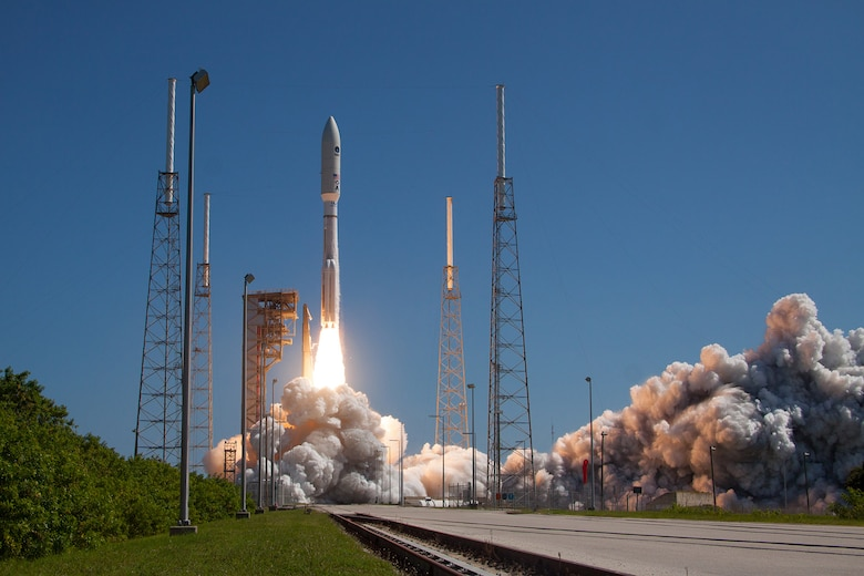 An Atlas V rocket carrying the MUOS-5  mission lifts off from Cape Canaveral AFS' Space Launch Complex-41 at 10:30 a.m. EDT. (Photo courtesy of United Launch Alliance)