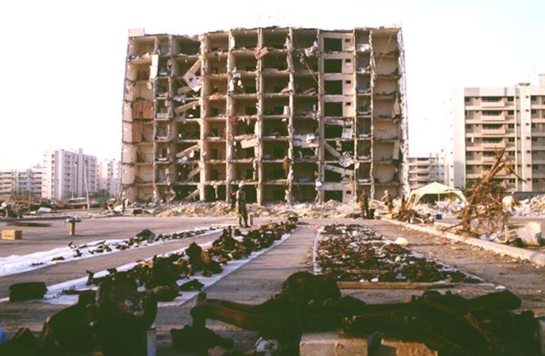 On June 25, 1996, a tanker truck filled with explosives erupted at the Khobar Towers housing complex in Dhahran, Saudi Arabia. Nineteen Airmen were killed and hundreds more were wounded in the attack; of those killed, 12 were members of the 33rd Fighter Wing based out of Eglin Air Force Base, Fla. (Courtesy photo/Yancy Mailes)
