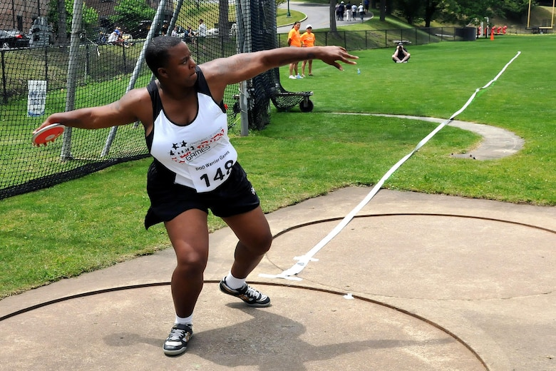 U.S. Army Veteran Sgt. Monica Southall, from Suffolk, Virginia, winds up to throw a discus during the Field event of the 2016 Department of Defense Warrior Games held at the U.S. Military Academy at West Point, New York, June 16. The DoD Warrior Games, June 15-21, is an adaptive sports competition for wounded, ill and injured service members and Veterans. (U.S. Army photo by Master Sgt. D. Keith Johnson/Released)