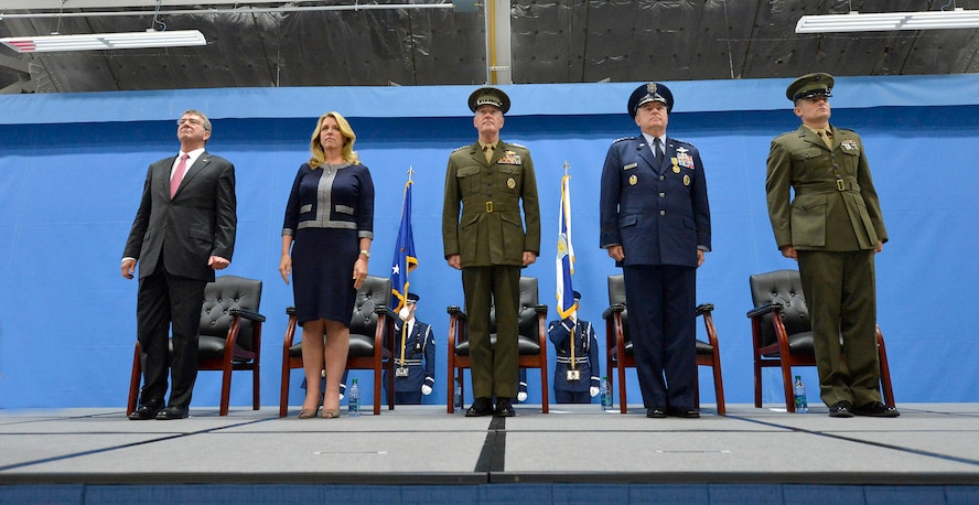 Secretary of Defense Ashton Carter, Secretary of the Air Force Deborah Lee James, Chairman of the Joint Chiefs of Staff Gen. Joseph F. Dunford Jr., Air Force Chief of Staff Gen. Mark A. Welsh III and Welsh's son 1st Lt. Matthew Welsh, stand during Welsh's retirement ceremony at Joint Base Andrews, Md., June 24, 2016.  Welsh has served as the 20th chief of staff since 2012. (U.S. Air Force photo/Tech. Sgt. Joshua L. DeMotts)