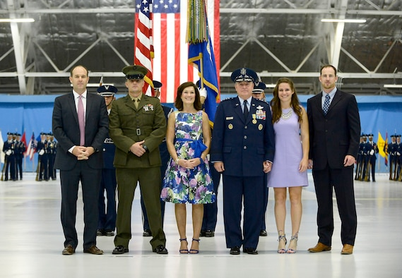 Air Force Chief of Staff Gen. Mark A. Welsh III stands with his family, sons Mark A. Welsh IV and Marine Corps 1st Lt. Matthew Welsh; his wife, Betty; daughter, Liz; and son, John, during Welsh's retirement ceremony at Joint Base Andrews, Md., June 24, 2016.  Welsh has served as the 20th chief of staff since 2012. (U.S. Air Force photo/Tech. Sgt. Joshua L. DeMotts)
