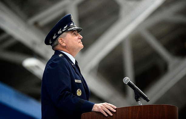 Air Force Chief of Staff Gen. Mark A. Welsh III gathers his emotions during his retirement ceremony at Joint Base Andrews, Md., June 24, 2016.  Welsh has served as the 20th chief of staff since 2012. (U.S. Air Force photo/Tech. Sgt. Joshua L. DeMotts)