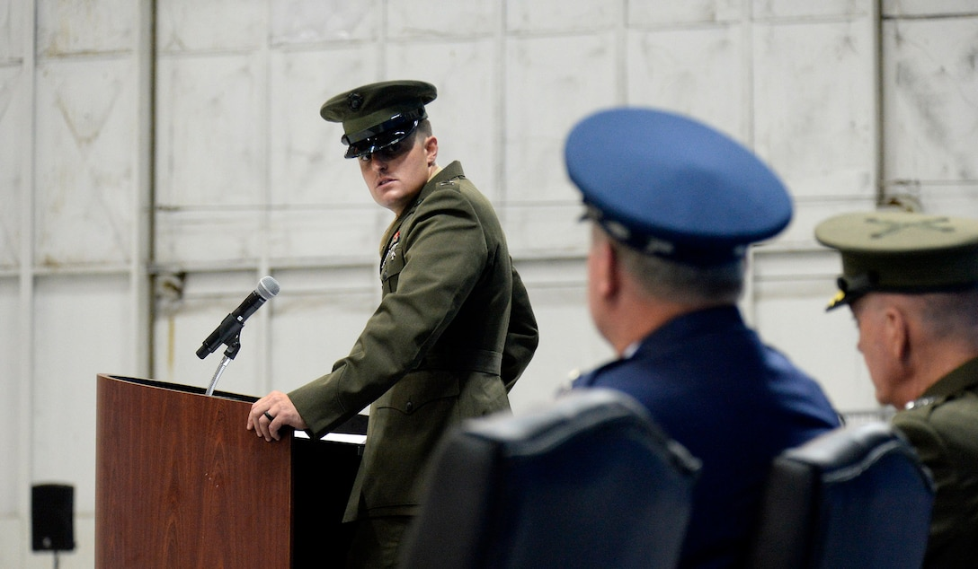 Marine Corps 1st Lt. Matthew Welsh speaks about his father, Air Force Chief of Staff Gen. Mark A. Welsh III, during his retirement ceremony at Joint Base Andrews, Md., June 24, 2016.  Welsh has served as the 20th chief of staff since 2012. (U.S. Air Force photo/Andy Morataya)